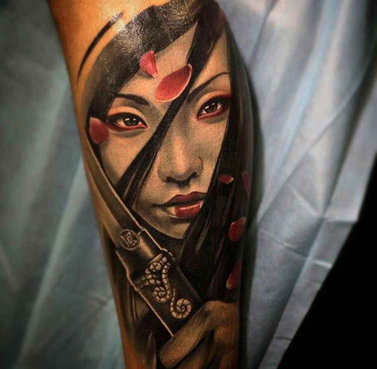 New School Style Colored Forearm Tattoo Of Beautiful Geisha With