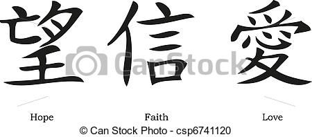 Download Vector Clipart of Chinese symbols for love; hope and faith ...