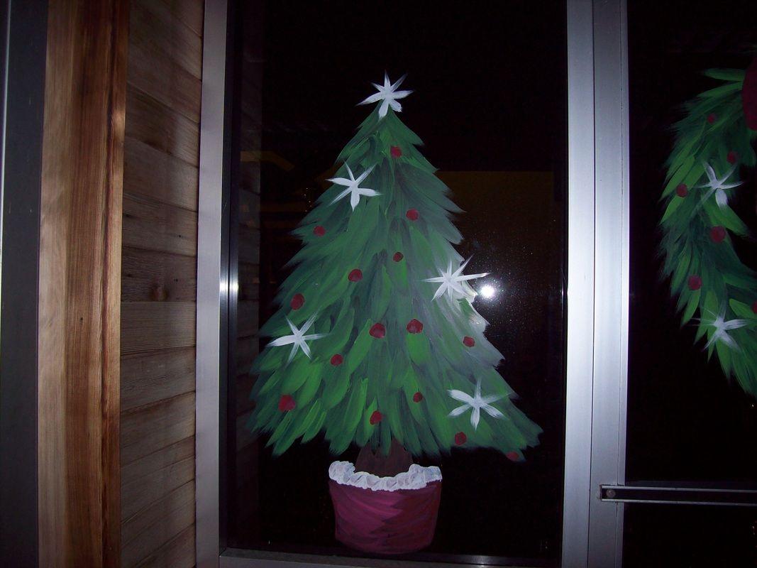 Christmas Tree Window Painting Christmas Tree Painting Christmas Paintings