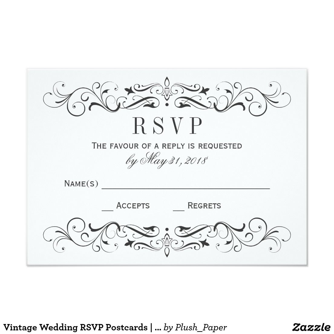 Vintage Wedding RSVP Postcards | Elegant Flourish | Wedding rsvp ...