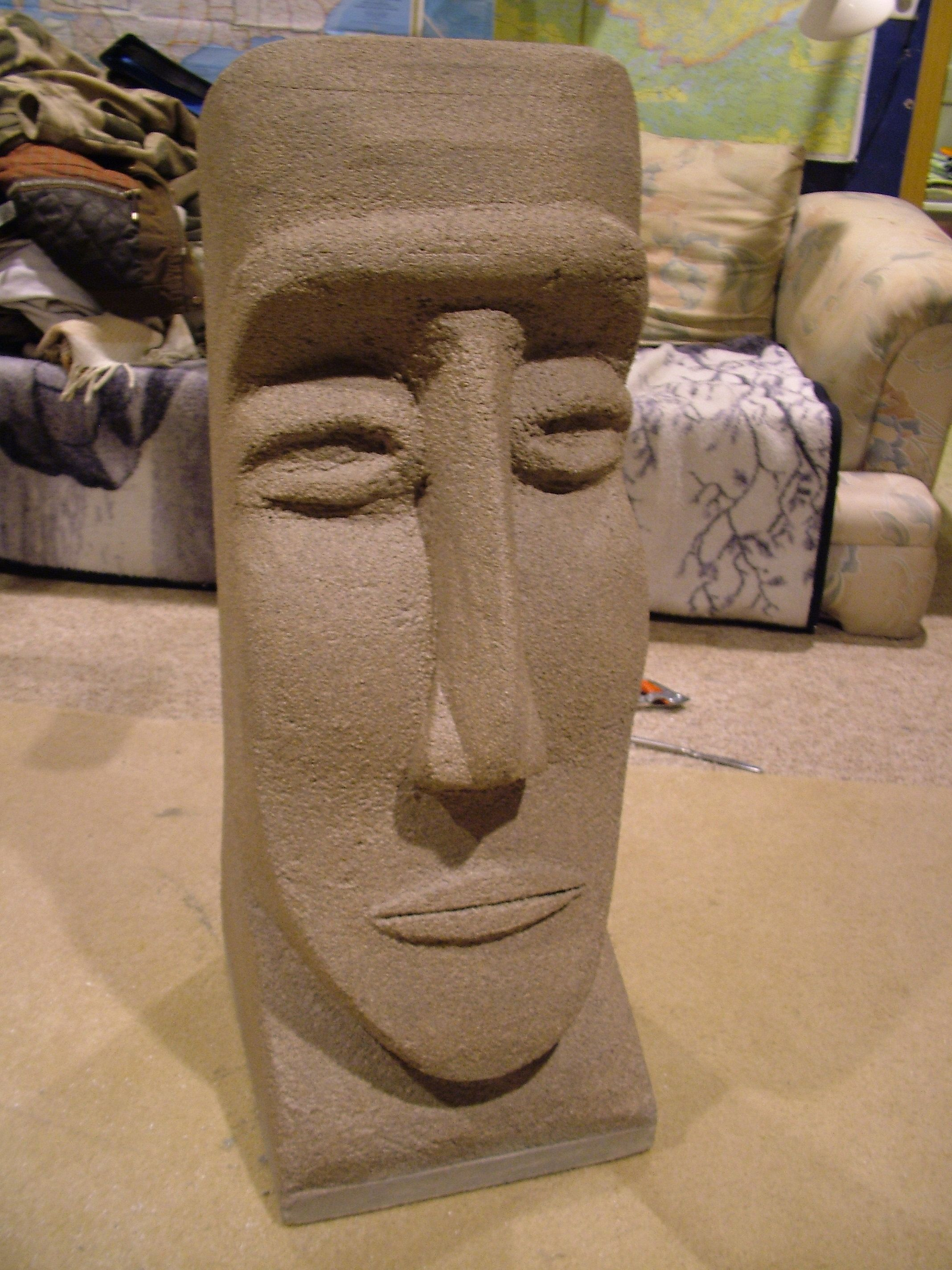 Styrofoam easter island head carvings and sculpture art