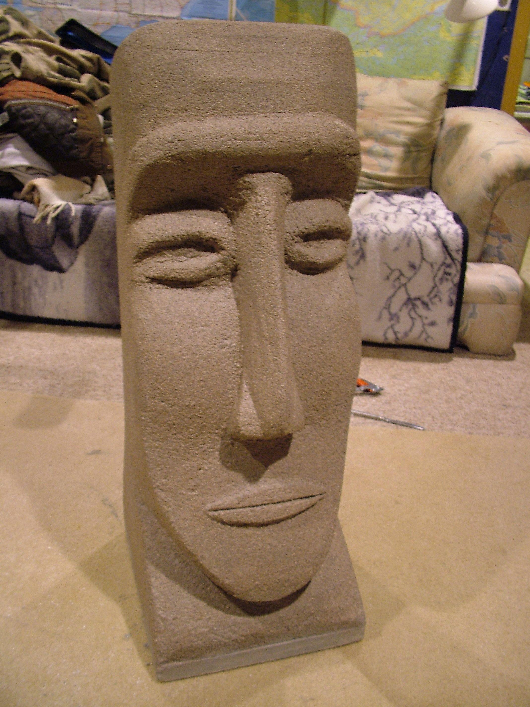 Styrofoam easter island head carvings and sculpture art