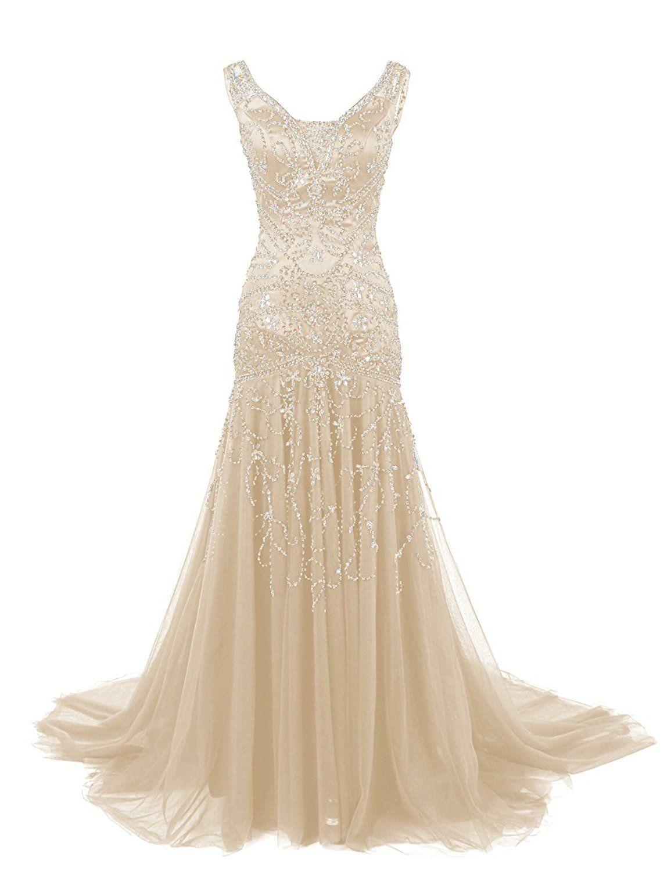 Dressystar v neck beaded mermaid wedding prom dress evening ball