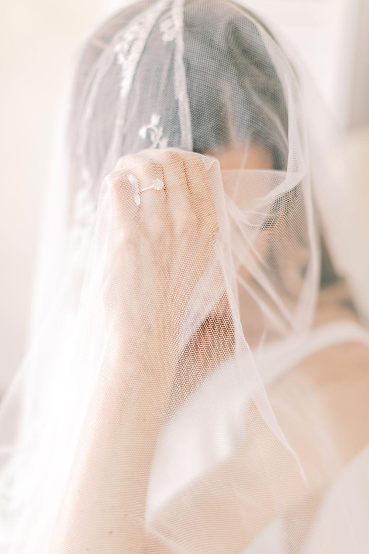 Romantic bridal portrait with veil Compass Floral