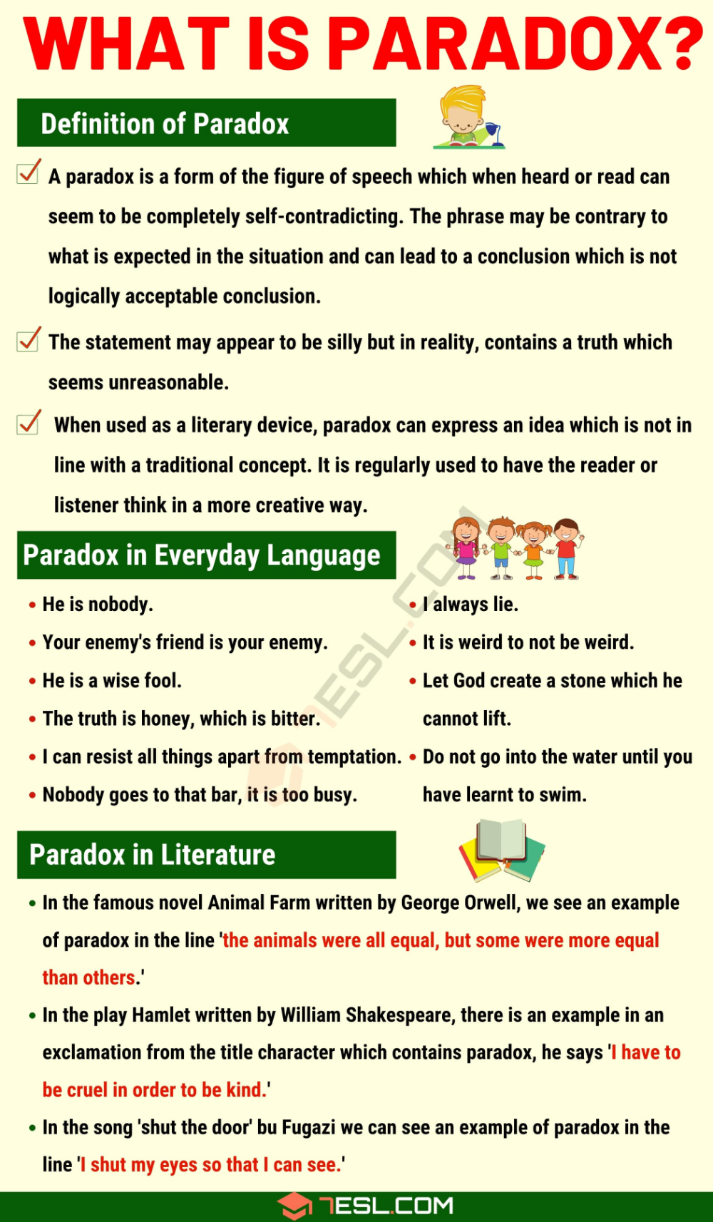 Paradox Definition And Examples Of Paradox In Speech And Literature 7 E S L In 2020 English Writing Skills Essay Writing Skills Learn English Words