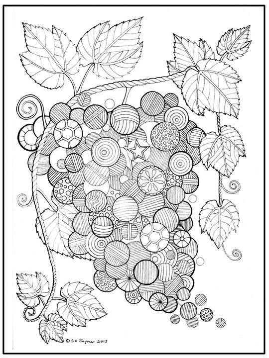 Grapes Abstract Doodle Zentangle Coloring Pages Colouring Adult Detailed Advanced Printable Kleuren Voor Volwassenen Coloriage Pour