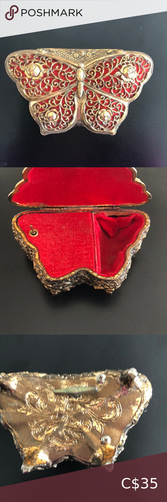 Vintage music box with small space for trinkets. #vintagemusic