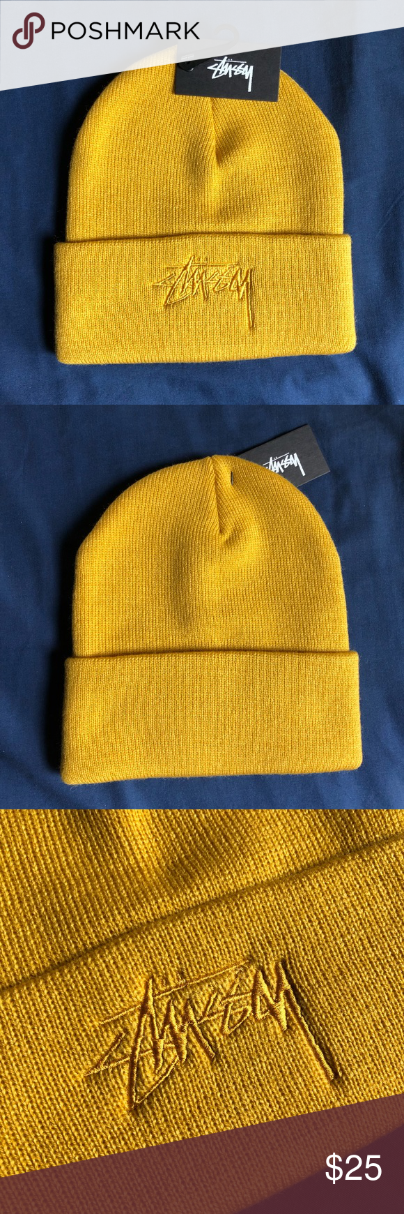 f893c7f084c Stussy Tonal Stock Cuff Beanie New with tags unisex Stussy beanie with  embroidered logo in a mustard color. Perfect condition