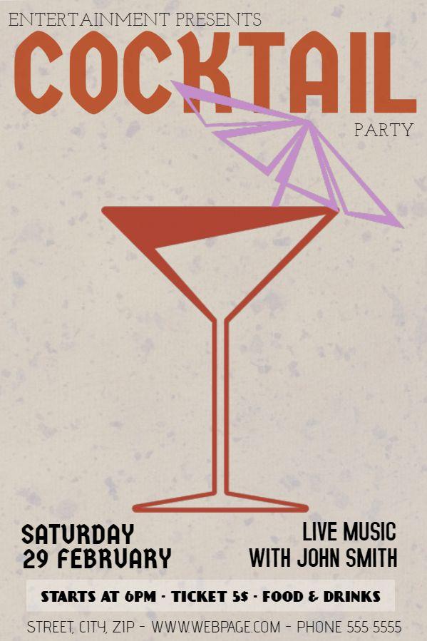 Printable vintage cocktail menu flyer template Cocktail Menu