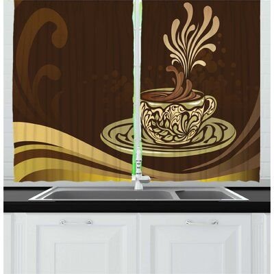 Photo of East Urban Home 2 Piece Coffee Illustration of an Ornamental Coffee Mug with Flourishes Vintage Artwork Kitchen Curtain Set | Wayfair