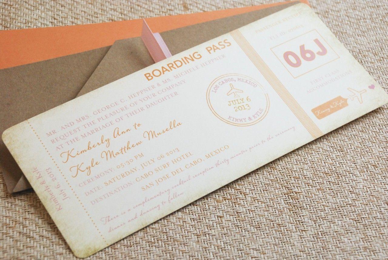 Plane Ticket Wedding Invitation - Vintage | Boda junio | Pinterest ...