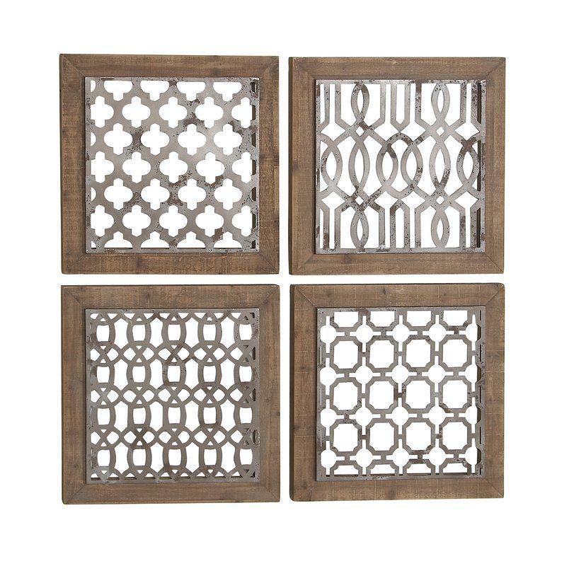 4 Piece Traditional Wood Geometric Wall Decor Set Geometric Wall Decor Medallion Wall Decor Wood Wall Decor
