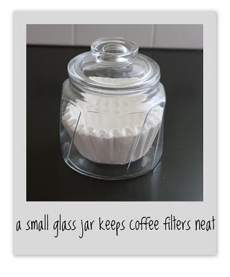 A Small Gl Jar Keeps Coffee Filters Neat Pretty Idea For The Coming Station