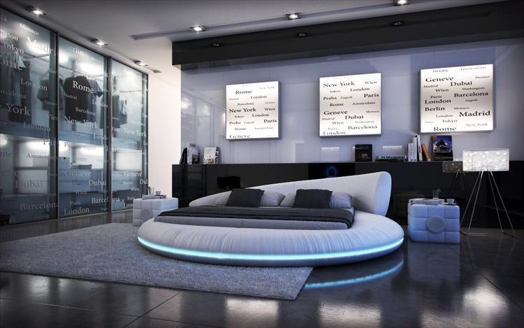 2016 2016 New Fashion Modern Leather Pu Led Light Round Bed Frame