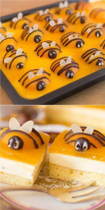 Frau Zuckerfee: Rezept für einfachen Aprikosen-Schmand-Kuchen | Bienenkuchen | Osterkuchen #kageideer