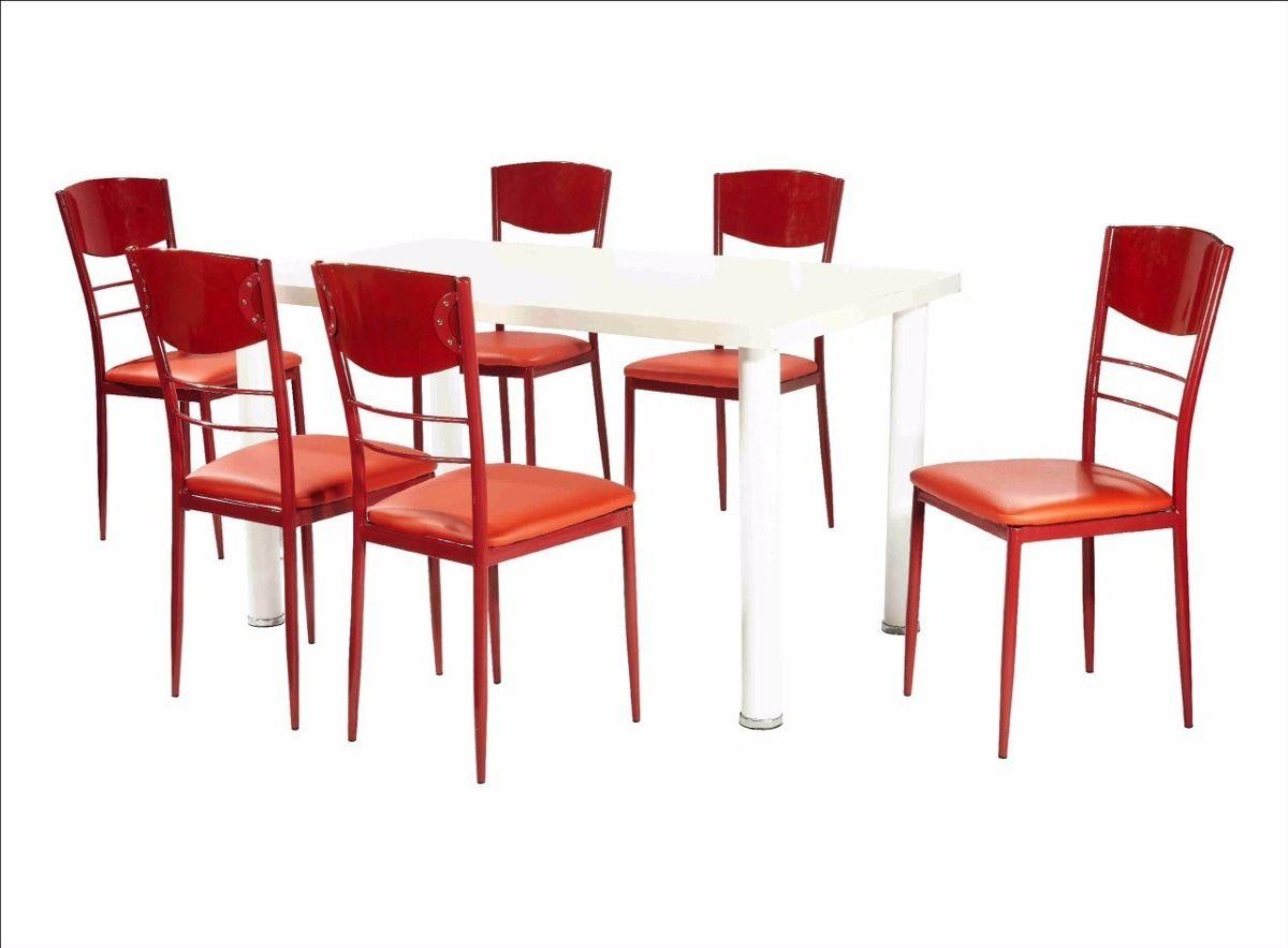 comedor c/6 sillas tapizadas mesa rectangular oferta ...