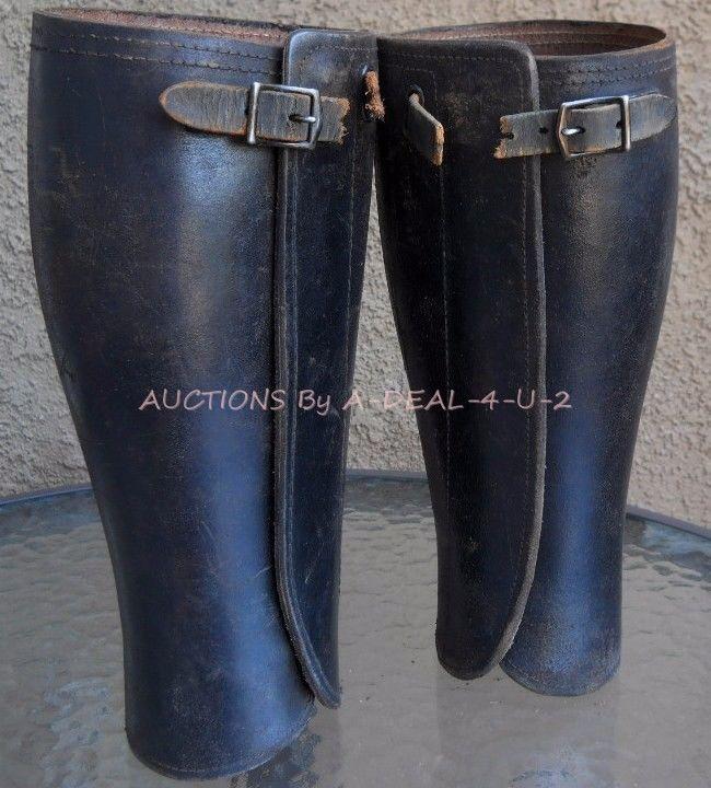 World War 1 WW Calvary Leather PUTTEES Gaiters Motorcycle Leggings 15 2 293
