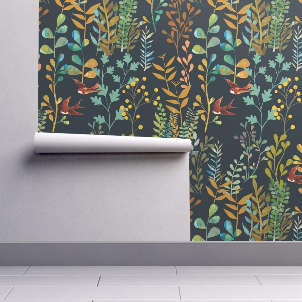 The Wild Garden Night Botanical Wallpaper Wallpaper Plant Wallpaper