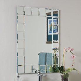 Montreal 31 5 In H X 23 6 W Rectangular Frameless Bathroom Mirror With Beveled Edges