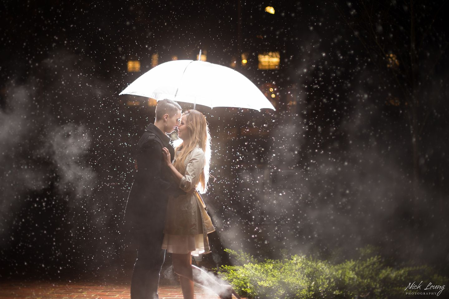 Night engagement session at UW - by Seattle based wedding photographer Nick Leung
