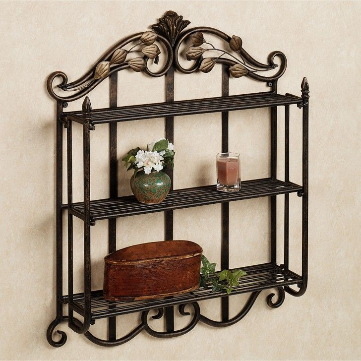 Black Wrought Iron Mirrors Towel Rack Wrought Iron Bathroom Shelves With Mirror Wrought Iron Metal Wall Shelves Bathroom Shelf Decor Bathroom Wall Shelves