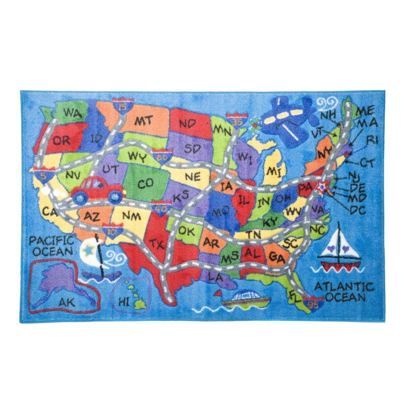 L A Rugs Travel Fun Map Kids Area Rug Tsc 138 39x58 Kids Area