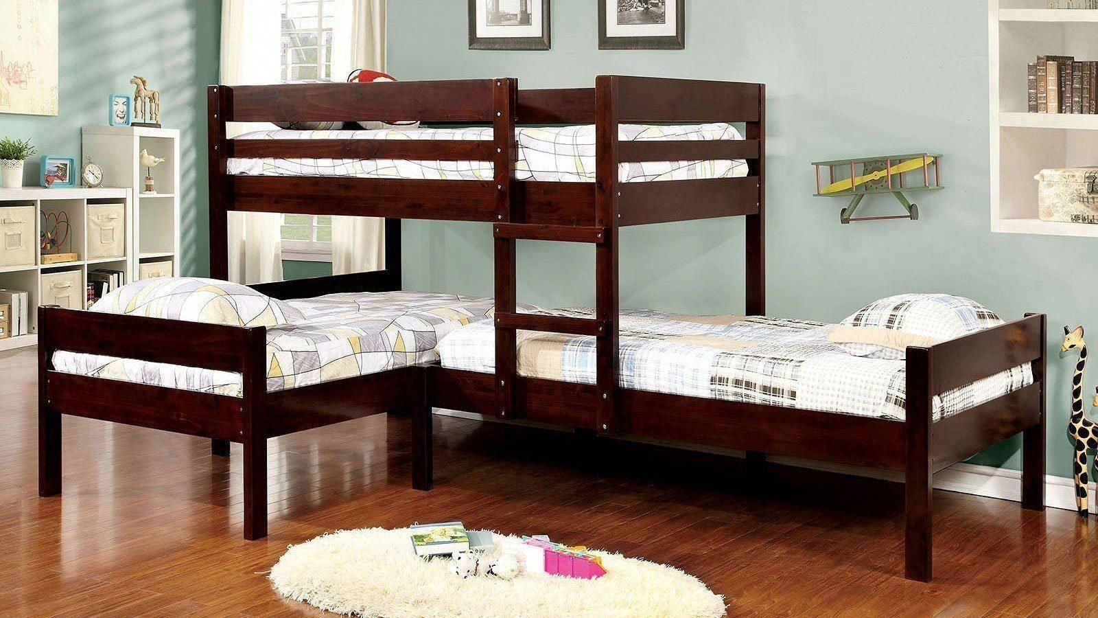 Loft bed with twin underneath  Ranford LShaped Triple Twin Bunk Bed  Bunk Bed with Stairs  Pinterest