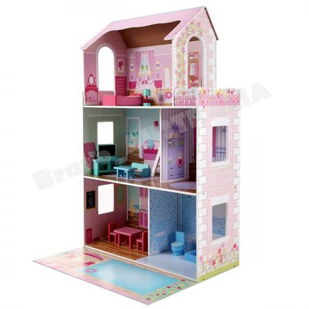 Large 3 Level Wooden Doll House Toy Pretend Play W 13 Furniture