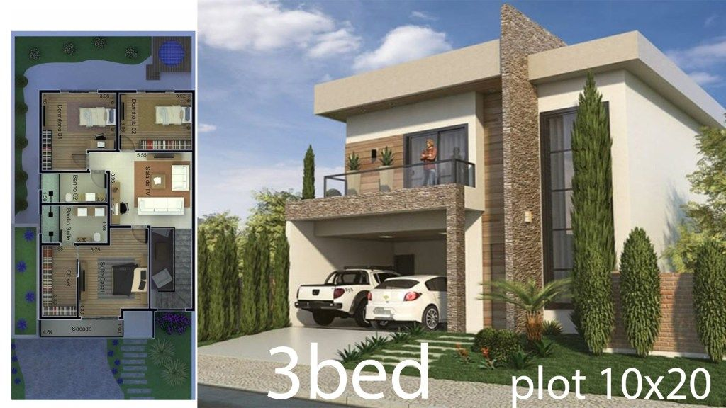 3 Bedrooms Home Design 10x20 Meters Home Design With Plan Modern House Facades House Design Facade House