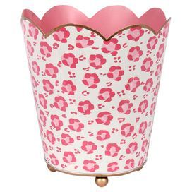"""Hand-painted and eco-friendly metal cachepot with a pink leopard-print motif and scalloped rim.   Product: CachepotConstruction Material: MetalColor: Pink, white and goldFeatures:Leopard-print motifEco-friendlyScalloped rimHand-paintedDimensions: Small: 6"""" H x 6.5"""" DiameterLarge: 8"""" H x 7"""" DiameterCleaning and Care: Wipe with a damp cloth"""