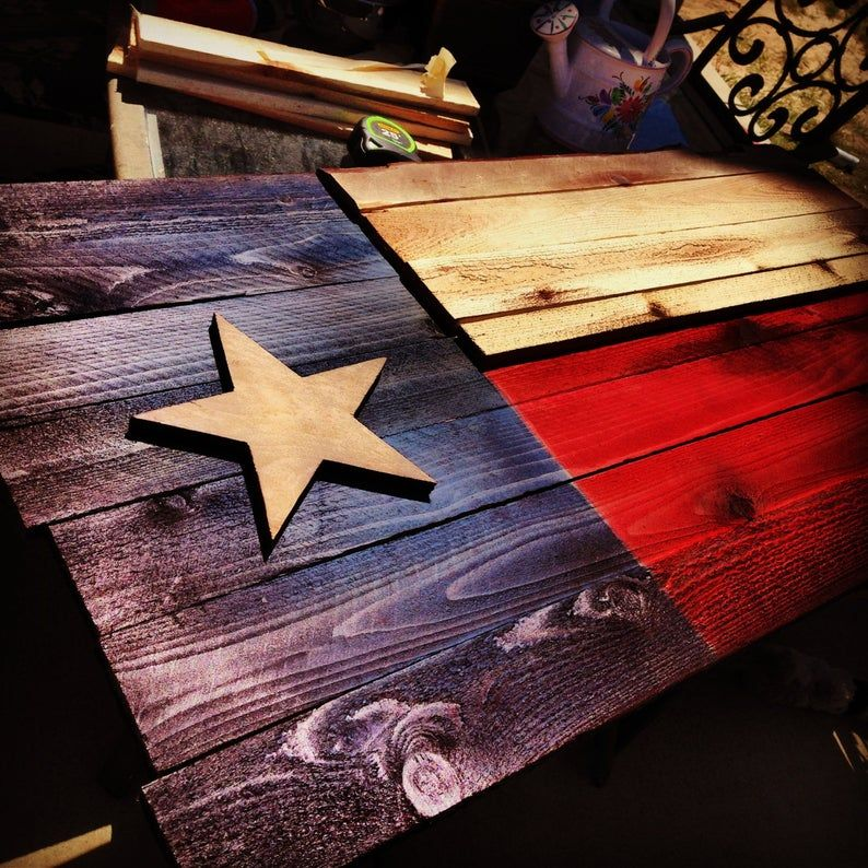 Wood Texas Flag