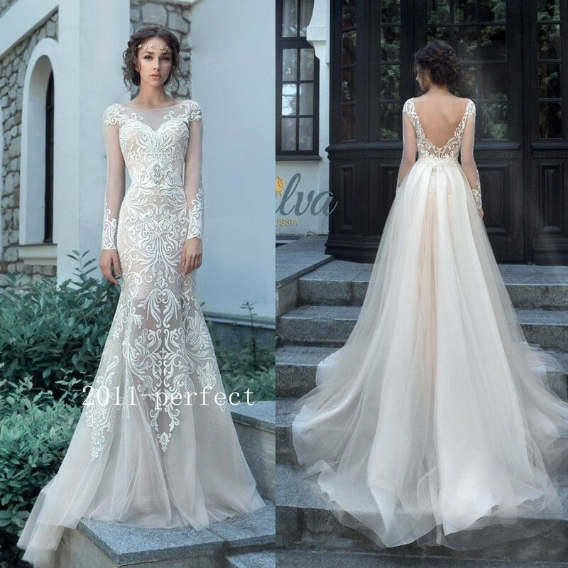 Lace Applique Mermaid Wedding Dress With Detachable Train A Line