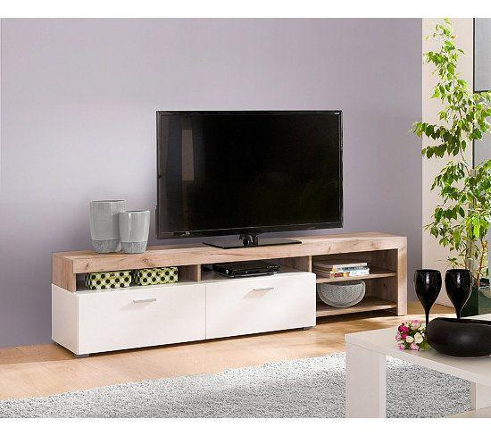 meubles tv meuble tv fiona bois gris et blanc d co. Black Bedroom Furniture Sets. Home Design Ideas
