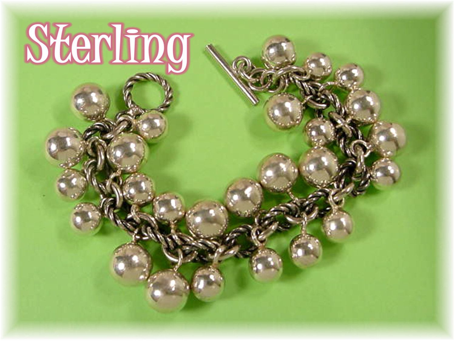 Sterling Silver - Dangling Balls Chunky Chain Charm Bracelet - 3 + Ozs - Manhattan Nights Bling - Boho OOAK One of A Kind - FREE SHIPPING