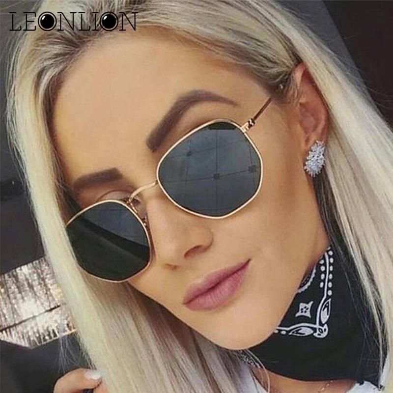 e630536db25 LeonLion 2018 Polygonal Sunglasses Women Glasses Lady Luxury Retro Metal Sun  Glasses Vintage Mirror Oculos De Sol Feminino UV400