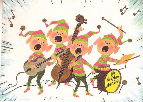 """""""The Holiday Machine."""" Mod elves from the early 60's. #Christmas #Hippies #Cool #1960s"""