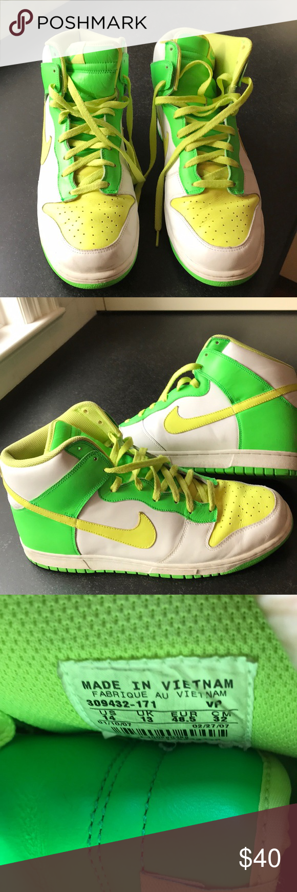 Nike Dunk High Pinterest Green nike shoes, Neon yellow and Neon