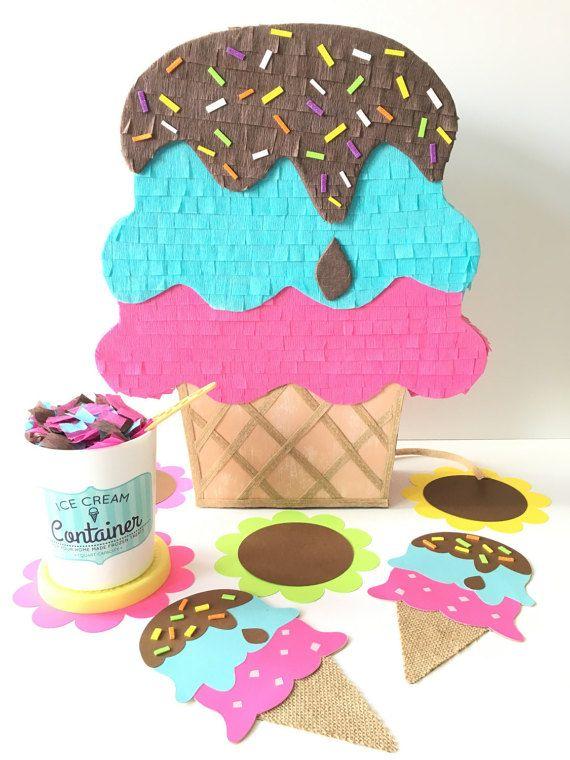 Hielo crema pinata pinata mini mesa del pastel helado - Decoracion de helados ...