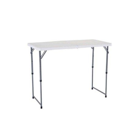 Amazon Com Lifetime 4 Foot Adjustable 4428 Height Folding Utility Table Patio Lawn Garden Fold In Half Table Half Table Adjustable Table