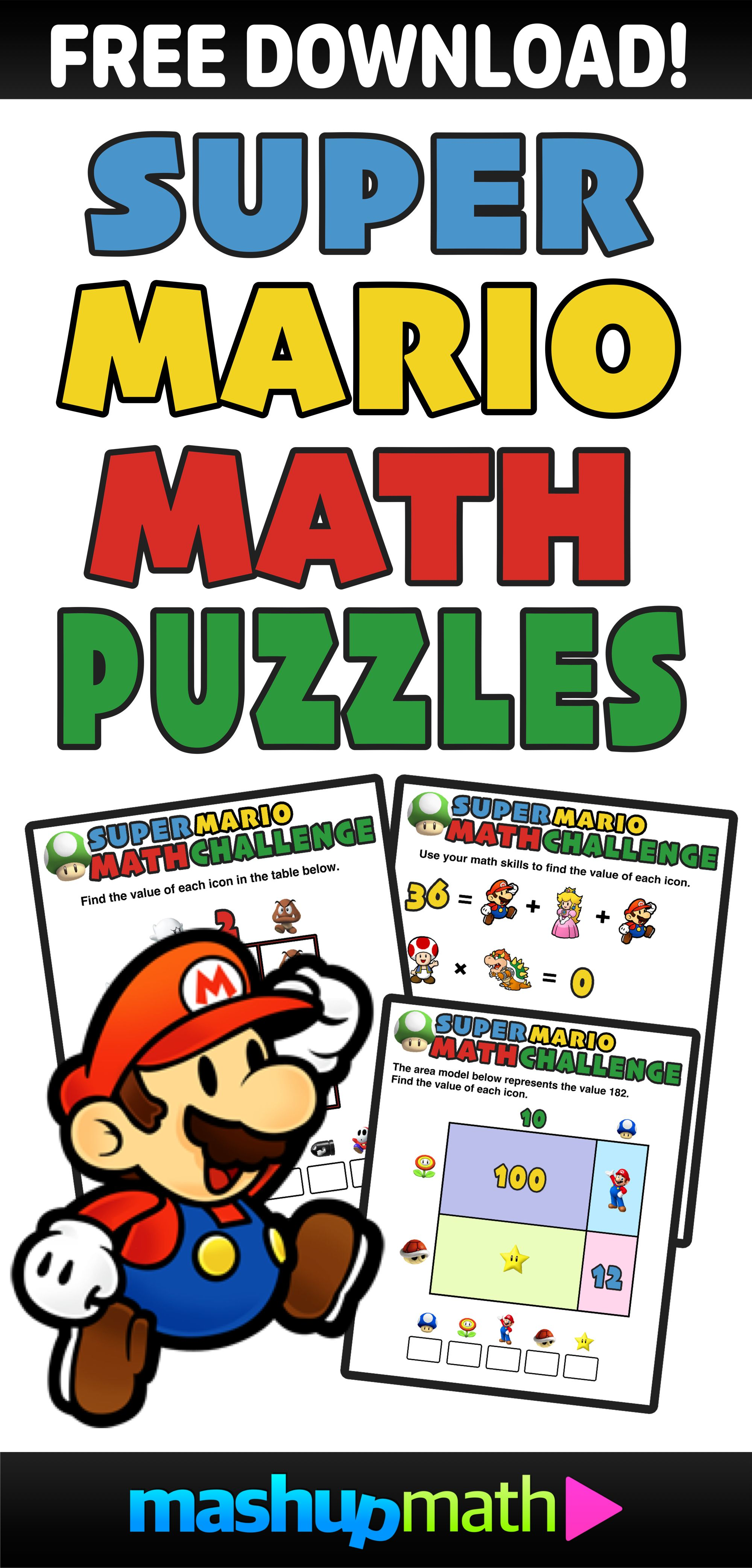 Have You Seen These Free Super Mario Math Puzzles