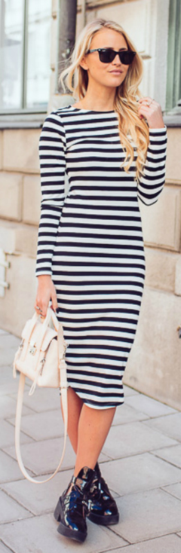 8800ece695a Janni Deler is in a black and white striped maxi dress ready for spring  Dress  Lindex
