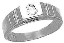 14k White Gold, Signet Fancy Ring with Brilliant Lab Created Gem-----