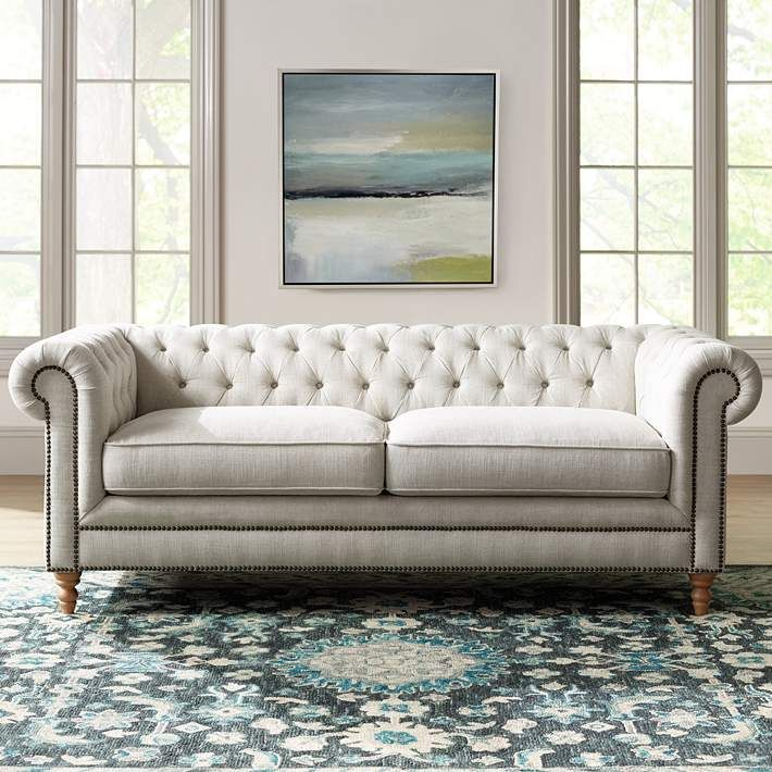 French Linen Tufted Sofa Under 100 Pounds Carolyn Brussel 12j41 Lamps Plus