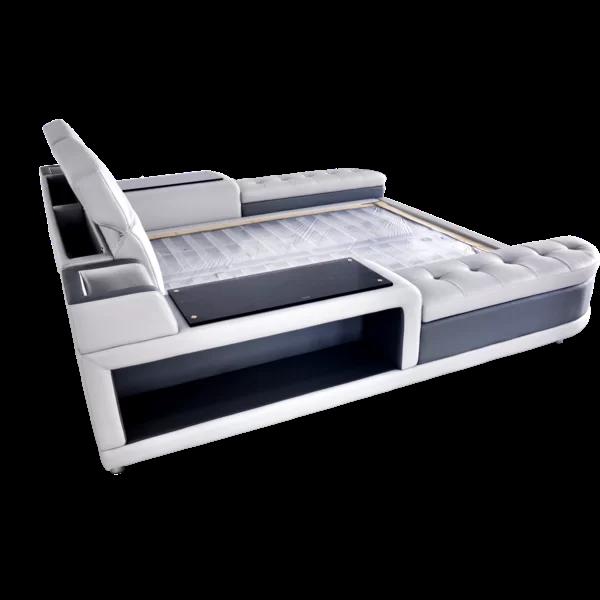 Aslef King Upholstered Low Profile Storage Platform Bed Underbed Storage Drawers Modern Contemporary Design Under Bed Storage