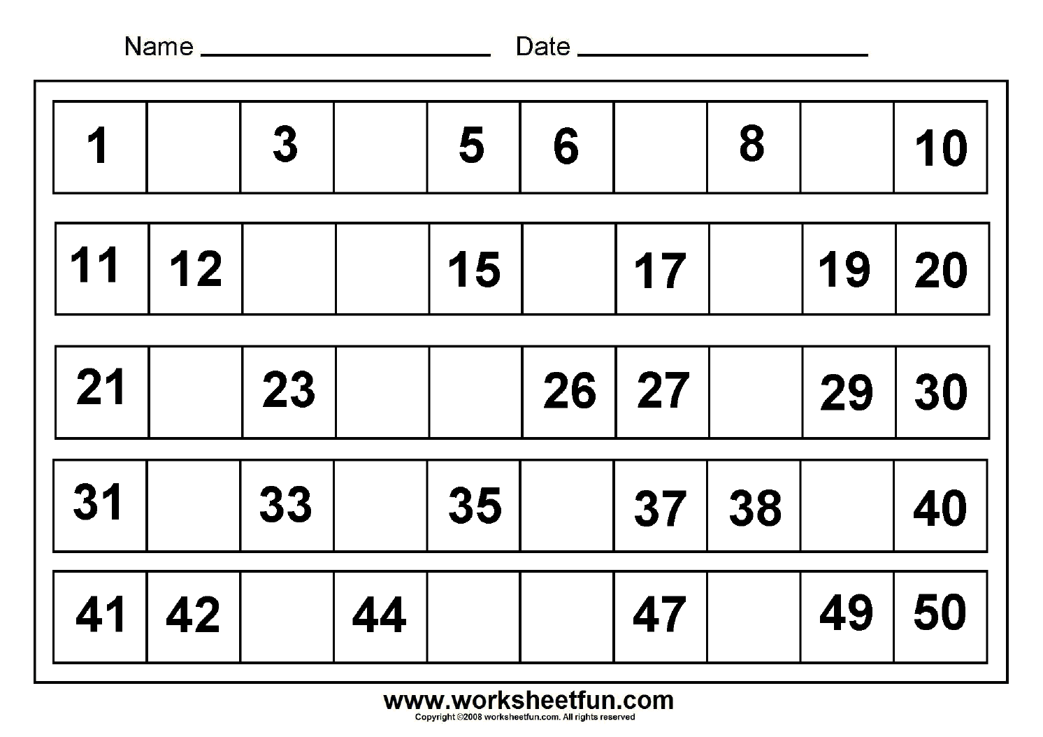 Missing+Numbers+1-50 | numbers | Pinterest | Math, Worksheets and ...