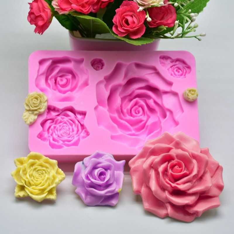 Silicone 5 Rose Flower Cake Fondant Mold Mousse Chocolate Mold Soap Gumpaste Molds Homemade Kitchen Fondant Molds Flower Cake Fondant Cakes