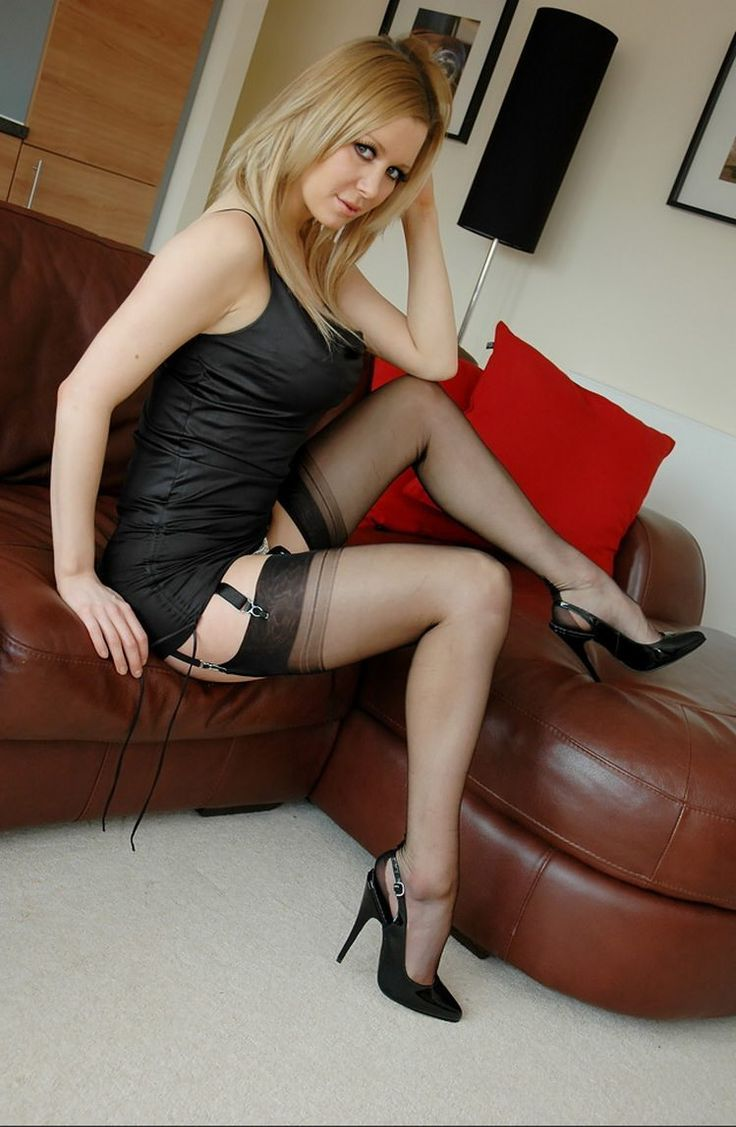 Wife in sexy dress and stockings