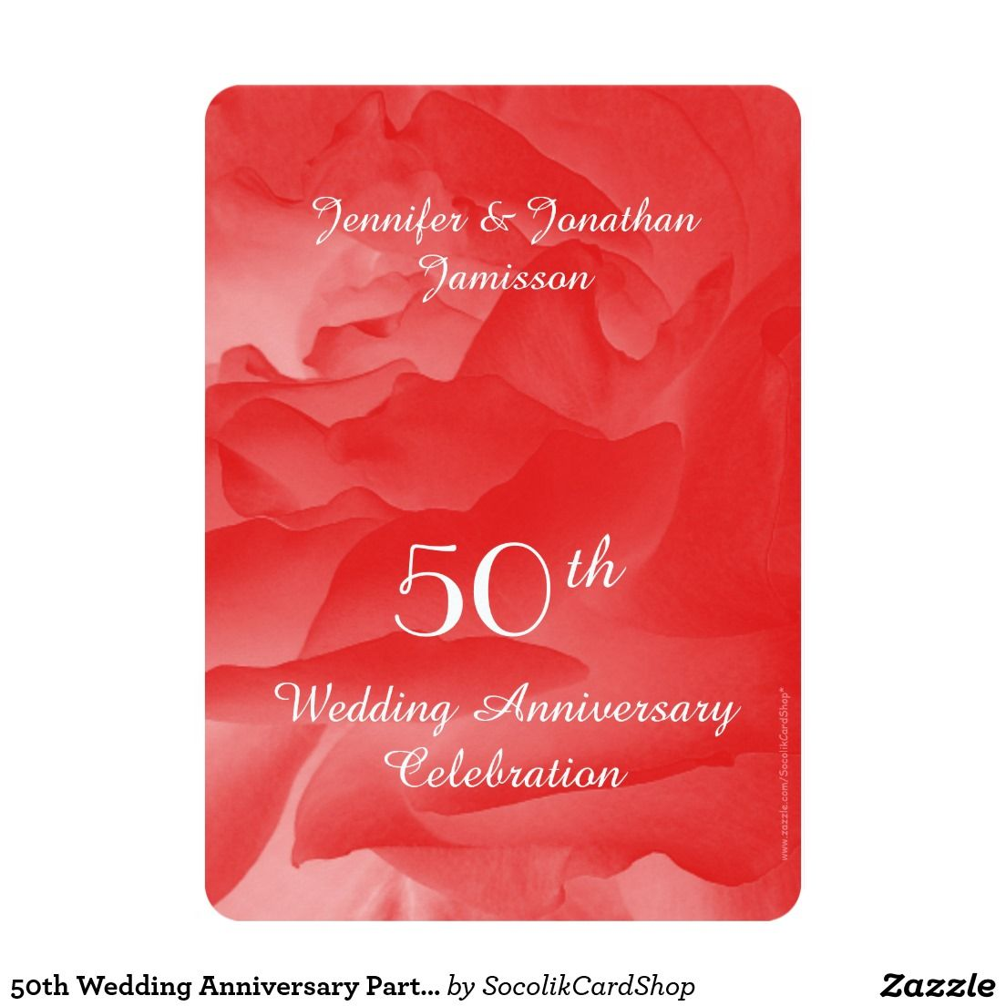 50th Wedding Anniversary Party Invitation, Rose Card - This ...