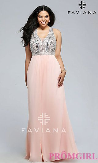 V-neck Plus Size Long Faviana Prom Dress at PromGirl.com | Plus ...