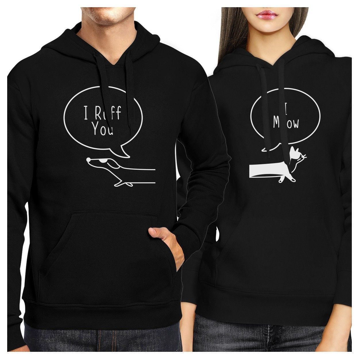 Wedding Gifts For Dog Lovers: I Ruff You And I Meow Couple Hoodies Christmas Gift For
